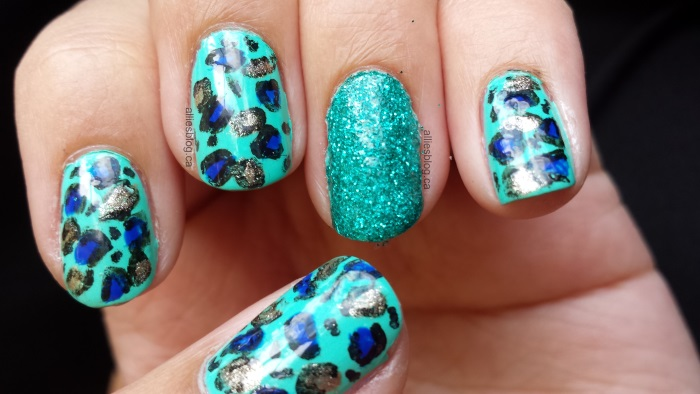 Mint leopard print nails|glitternails nails|June 25 2014