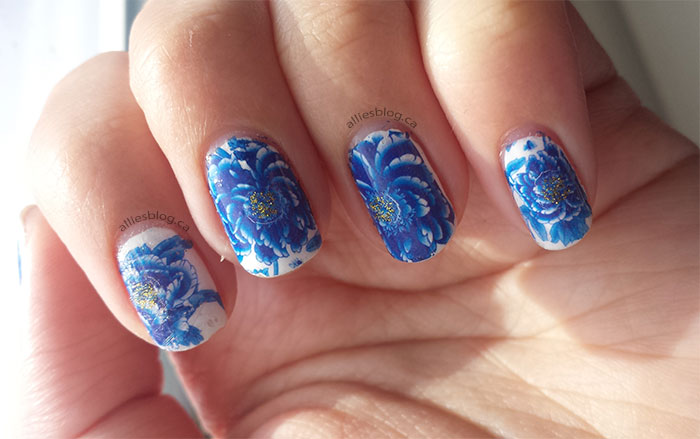 born pretty store   water decals   blue flower nails   blue and white nails
