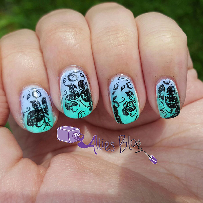 gradient butterfly nails | bornprettystore stamping plate | mint and purple nails
