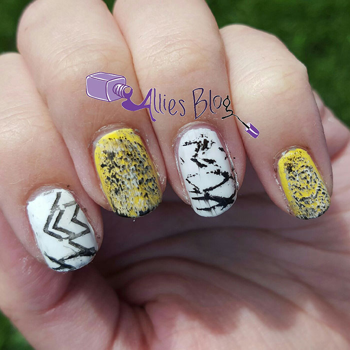 yellow distressed stamping nail