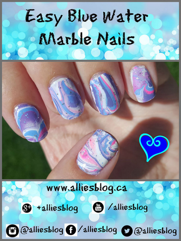 easy blue water marble nails |nail art tutorial \ youtube